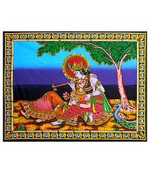 Radha and Krishna - Sequin Work on Printed Cloth