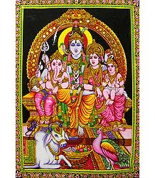 Shiva Family - Print on Cloth with Sequin Work