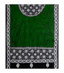 Kantha Embroidery on Green  Batik Cotton Stole