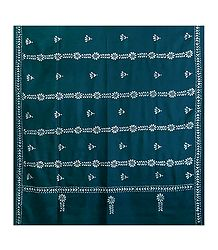 Kantha Stitch Cyan Blue Woolen Shawl for Ladies