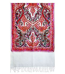 Embroidered Kashmiri White Woolen Stole