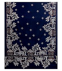 Kantha Embroidery on Dark Blue Cotton Stole