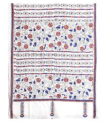 Blue and Brown Kantha Embroidery on White Cotton Stole