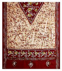 Shop Online Kantha Embroidery on Batik Cotton Stole
