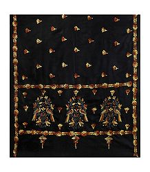 Kantha Stitch Black Woolen Shawl for Ladies