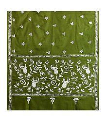 Kantha Stitch Olive Green Woolen Shawl for Ladies