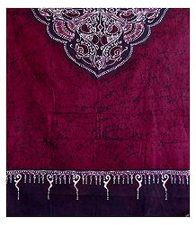 Dark Magenta Cotton Batik Stole