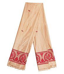 Beige Orissa Cotton Stole with Baluchari Wheel Design Pallu