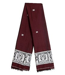 Maroon Orissa Cotton Stole with Baluchari Women Figure Design Pallu