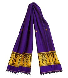 Purple Cotton Stole with Baluchari Women Figure Design
