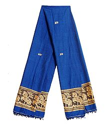 Blue Orissa Cotton Stole with Baluchari Horse Design Pallu