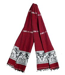 Red Orissa Cotton Stole with Baluchari Peacock Design Pallu
