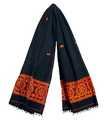 Black Orissa Cotton Stole with Baluchari Wheel Design Pallu