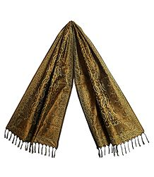 Copper Brown Banarasi Tanchoi Stole with Leaf Design