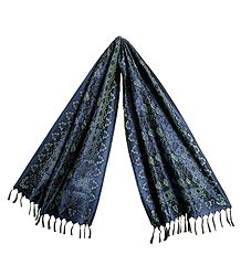Blue Banarasi Tanchoi Stole with Leaf Design