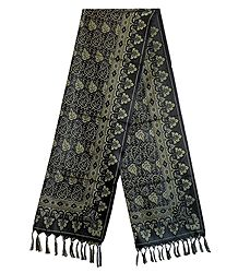 Black Banarasi Tanchoi Stole with Leaf Design
