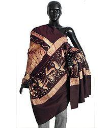 Dark Maroon and Off-White Batik Print Cotton Stole