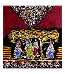 Bengali Festive Scene on Batik Print Cotton Stole