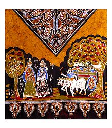 Village Scene on Batik Print Cotton Stole