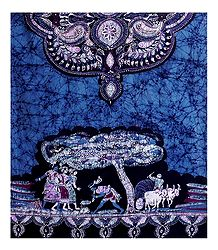 Folk Dance Scene on Batik Print Cotton Stole