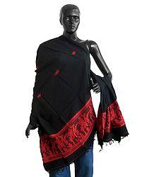 Orissa Cotton Stole Red Baluchari Design