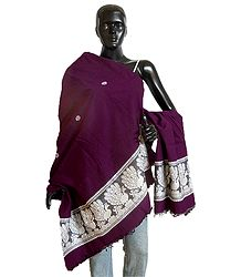 Dark Magenta Orissai Cotton Stole with Baluchari Design Pallu