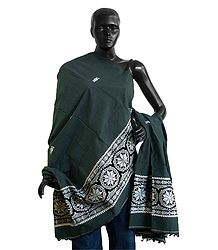 Dark Grey Orissa Cotton Stole with White Baluchari Design Pallu
