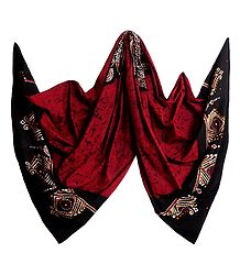 Red with Black Batik Cotton Stole