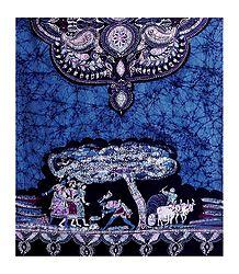 Folk Dance Scene on Batik Print Cotton Stole