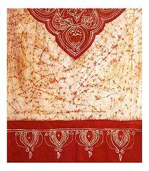 Off-White with Saffron Batik Cotton Stole
