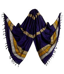 Purple Orissa Bomkai Cotton Stole with Weaved Design Pallu