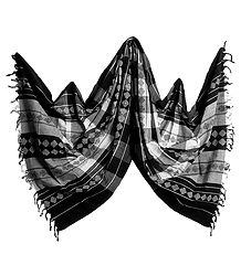 Black and White Orissa Bomkai Cotton Stole with All-Over Weaved Design