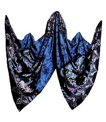 Blue with Black Batik Cotton Stole