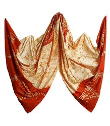 Ivory Color with Saffron Batik Cotton Stole