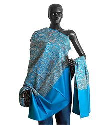 Buy Cyan Blue Woolen Shawl with All-Over Paisley Design