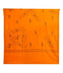 Embroidered Yellow Kashmiri Woolen Shawl