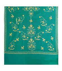 Embroidered Cyan Green Kashmiri Woolen Shawl for Ladies