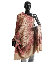 Woven Paisley Design with Embroidery Beige Woolen Shawl