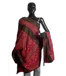 Woven Paisley Design with Embroidery Maroon Woolen Shawl