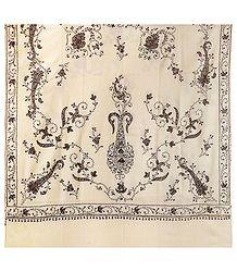 Buy Ladies Ivory Kashmiri Woolen Shawl
