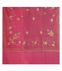 Embroidered Pink Kashmiri Woolen Shawl for Ladies