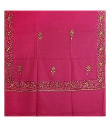 Embroidered Dark Pink Kashmiri Woolen Shawl for Ladies