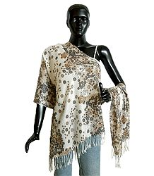 White with Beige Light Woolen Stole with Floral Print