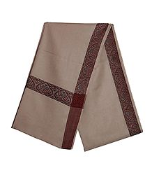 Fawn Brown Woolen Mens Shawl with Woven Border