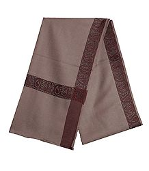 Chamoisee Brown Woolen Mens Shawl with Woven Border