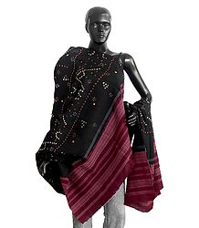 Ladies Tie and Dye Black with Maroon Border Shawl