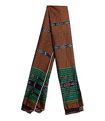 Brown Cotton Stole with Ikkat Design Pallu