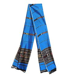Blue Cotton Stole with Ikkat Design Pallu