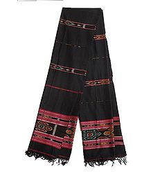 Shop Online Black Cotton Ikkat Design Stole