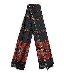 Dark Brown Cotton Stole with Ikkat Design Pallu